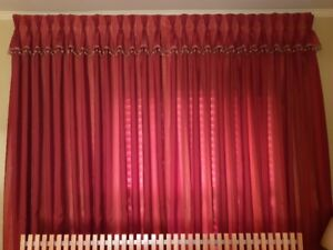 "Designer custom drapes/curtains (pair) like new; each 48""Wx96""H"