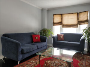 Like new modern and beautiful sofa and love chair made in Quebec