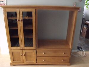 Solid Oak TV Stand/Wall Unit