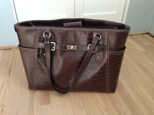 Brown purse and matching laptop case for sale!
