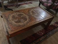 60's tiled teak coffee table. Mid century.