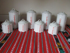 Ceramic canister mason jars 8 piece set kitchen storage Kitchener / Waterloo Kitchener Area image 1
