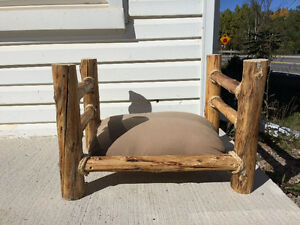 Hand Crafted Log Dog Bed