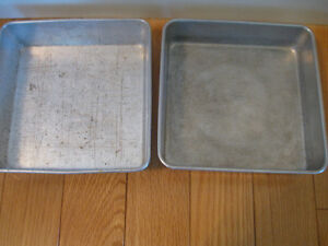TWO OLD VINTAGE 8-in.SQUARE ALUMINUM BROWNIE PANS