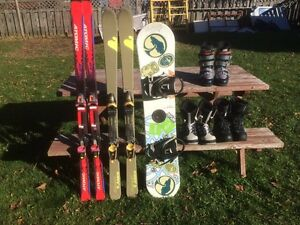 SKIS, SNOWBOARD, BOOTS