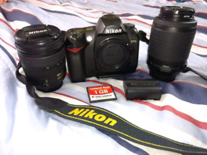 Nikon d70 with 18- 70mm lens and 55- 200mm lens