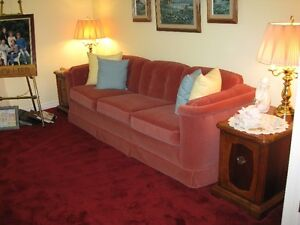 SOFA, LOVE SEAT, COFFEE TABLE LAMPS, END TABLES