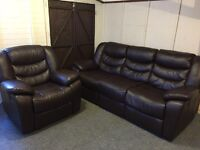 LUXURY 3 & 1 FAUX BROWN LEATHER RECLINING SOFAS
