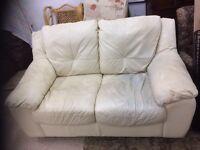 2 seater leather cream/white sofa