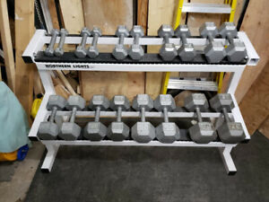 Hex Dumbbell Set + Northern Lights 2-Tier Rack