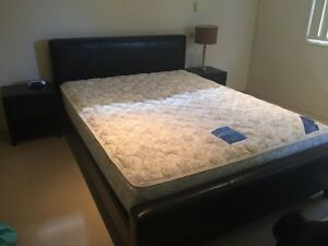 LEATHER QUEEN BED WITH MIRACOIL SLEEPMAKER MATTRESS  2 x S/tables Carrara Gold Coast City Preview