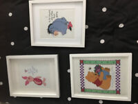 Embroidered, framed pieces of Winny the Pooh, Ehor and Piglet