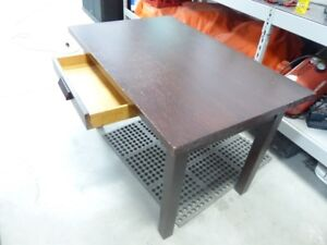 antique heavy duty table with side drawer from eastern canada