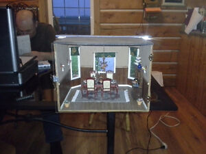 Miniature Dining room room box with garden view for sale