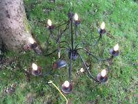 lustre candélabre luminaire candelabra chandelier lamp fer forgé