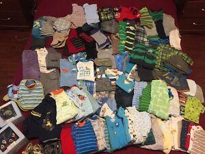 Lot vêtements bébé garçon 0-12 mois 75$ (Plus de 80 morceaux)