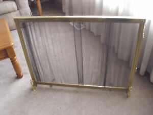 BRASS FIRE PLACE COVER SCREEN 36 INCHES WIDE X 28 INCHES HIGH