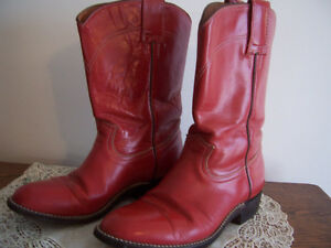 RED Leather Cowboy Boots -  5 D - $38 OBO