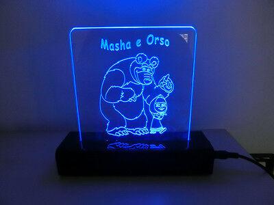 LAMPADA PEXIGLASS DESIGN PER CAMERA DA LETTO A LED CON TELECOMANDO MASHA & ORSO