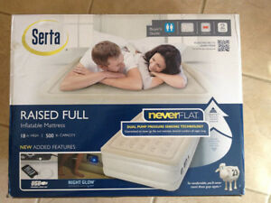 Serta Neverflat 18 inch Raised Full Inflatable Airbed Mattress w