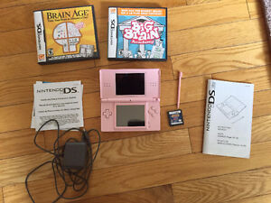 Pink Ds Lite with 3 Games and Charger