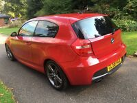 2009 58 PLATE BMW 118d M SPORT 3 DR HATCH IN IMOLA RED £30 PER YEAR ROAD TAX
