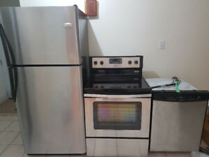3 pc stainless steel appliances fridge and stove and dishwasher