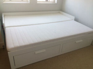 IKEA BRIMNES, Daybed frame with 2 drawers, white, mattress incl.