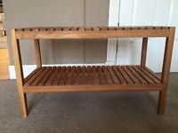 Wooden slatted 2 shelf unit / shoe rack / seat