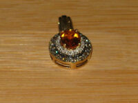 VALENTINES DAY SPECIAL: 14k gold & amber pendant with diamonds.