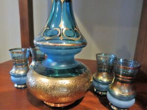 Bohemian Turquize Blue Gilted Decanter Set 1960's