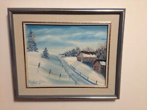magnifique toile signée d'un paysage d'hiver Québécois