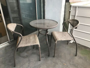 Small Brown/Glass Patio Table Set with 2 Chairs