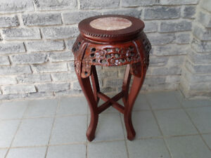 CHINESE CARVED ROSEWOOD MARBLE TOP TABLE