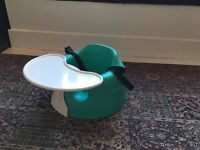Bumbo seat with tray and harness