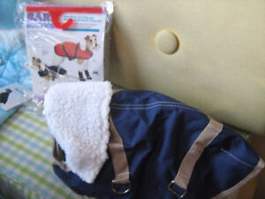 New Canine Coat-Dark Blue with Sheepskin-size M--$15.