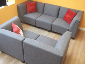 SPECIAL! 5 PC MODULAR GREY COUCH & LOVESEAT - USED 3 WEEKS