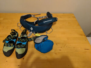 La Sportiva rock climbing shoes and black diamond harness
