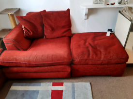 One sofa and a half sofa with a foot stool