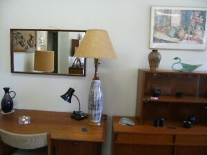 MCM CERAMIC LAMP WITH TEAK TRIM ORG. SHADE Peterborough Peterborough Area image 1