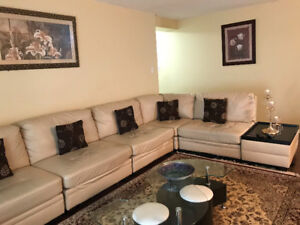 L-Shaped Couch GREAT Condition W. Side Tables
