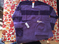 BRAND NEW PURPLE SWEATER,HAT AND SCARF WAS 74.00 NOW 25.00 OBO