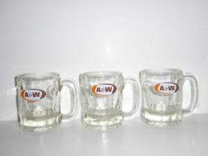 3 VINTAGE ORIGINAL 1960s A&W ROOT BEER MUGS - MINT COND.