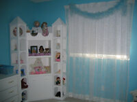 Custom Made Bookcase/toy bin and Head board for twin bed