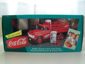COCA-COLA 1957 CHEVY STAKE TRUCK, VENDING MACHINES AND DOLLY-ERT