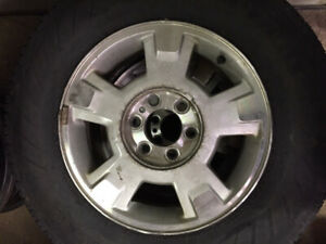 "Pair of Ford Aluminum 17"" Rims With Tires"