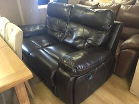 Ex-display/seconds*** Beautiful brown leather reclining 2 seater---ONLY £260---CALL TODAY!!!
