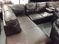 Free delivery brown leather corner sofa