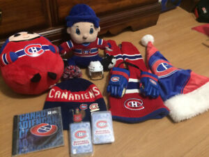 Montreal Canadiens Habs Assorted Fanware (hats, scarf, toys)