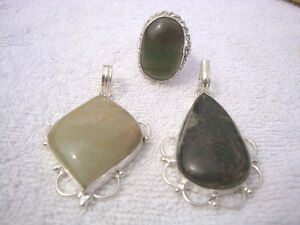 Sterling Silver 3 Pcs All Stamped 925 Genuine Stones LB